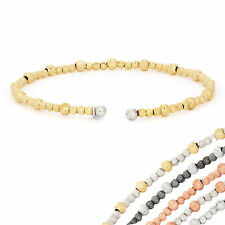 14K Gold, Rose Gold, or Rhodium Plated Silver Wave Beaded Open Bangle Bracelet