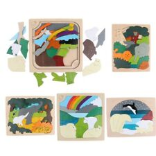 Multilayer Wooden Jigsaw Cartoon Animals Puzzle Board Educational Kid Toys