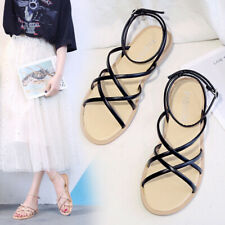 Womens Slim Corss Strappy Slingback Sandals Ladies Ankle Strap Flat Beach Shoes