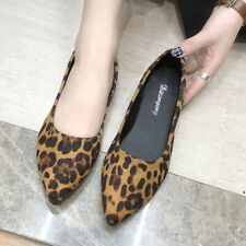 Ladeis Slip On Leopard Print Flat Pumps Women Sexy Pointed Toe Casual Boat Shoes