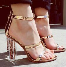 Women High Block Glitter Heel Sandals Ankle Strap Open Toe Gold Prom Shoes Party