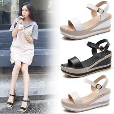 Womens Ankle Strap Wedge Sandals High Platform Heel Buckle Open Toe Party Shoes
