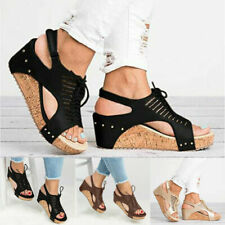 Women Cut Out Wedges High Heel Sandals Casual Platform Hollow Lace Up Shoes Size