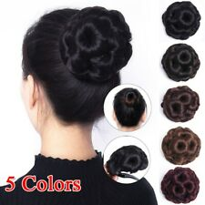 Women Female Curly Hair Bun Clip Comb In Hair Extension Chignon Hairpiece