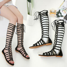 Fashion Ladies Women Strappy Point Toe Flat Shoe Causal Roman sandals gladiator