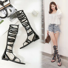 New Women Buckle Over The Knee Roman Peep Toe Flat Causal Gladiator Sandals Shoe