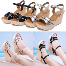 Women's Summer Casual Buckle Bow Sandals Ladies High Heels Wedge Shoes Plus Size