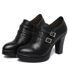 Womens Ladies Platform Ankle Boots Block High Heel Chunky Shoes Wedge New Size