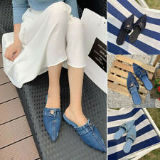 Women's Denim Pointed Toe Lazy Leisure Slipper Sandals Home Soft Loafers Shoes
