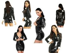 Womens Leather Bodycon Dress Long Sleeve Short Dresses Halloween Gothic Clubwear