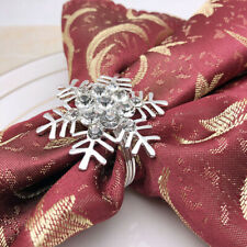 6pcs Snowflake Napkin Rings Metal Rhinestone Napkin Buckles for Christmas Party