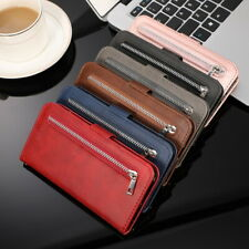Multi-function Zipper Flip Leather Wallet Case Cover For Samsung Galaxy Phones