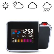 Digital LED Projection Clock Time Thermometer Snooze Alarm Calendar LCD Backlite