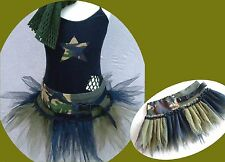 GIRLS DANCE COSTUME ARMY CAMO TUTU SKIRT URBAN STREET HIP HOP TWIRLING DRESS UP