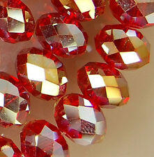 5x8mm Faceted Red Rainbow AB Crystal Beads 71pcs