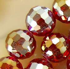 10mm Faceted Red Rainbow AB Crystal Round Beads 45pcs