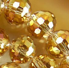 10mm Faceted DarkGold Rainbow AB Crystal Beads 45pcs