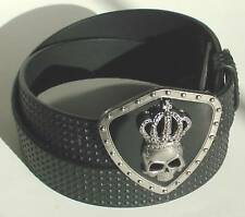 MEN WOMAN STUDDED BLACK SNAP ON BELT WITH KING BUCKLE