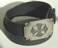 MEN WOMAN STUDDED BLACK SNAP ON BELT WITH CROSS BUCKLE