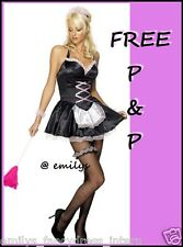 LADIES SEXY BLACK FRENCH MAID FANCY DRESS PARTY COSTUME