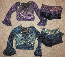 LOT Marcea Competition Dance Jazz Crop Top Booty Shorts Costume Girls 12-14 & AM