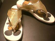 MICKEY MOUSE goldtone SEQUINED Women's/Ladies SANDALS Small 5/6