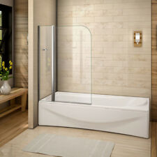 New Aica 180° Pivot Over Bath Shower Screen Tempered Glass Door Panel&Seasl 1400