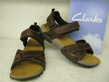 Mens Clarks Vextor Part Walnut Leather Casual Riptape Strap Sandals