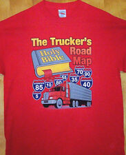 "New Red T Shirt "" TRUCKER'S ROAD MAP ""  Sz  Sm - 5XL"