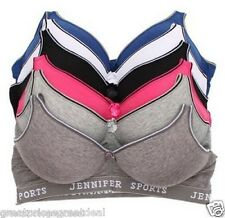 6 Jennifer Sports Bras Womens COTTON RACERBACK PLAIN WIRE-FREE NEW Lot B C D Cup