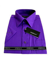MENS PURPLE SHORT SLEEVE DRESS SHIRTS ALL SIZES