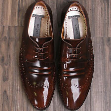Italian Style Brown Oxford Mens Leather Dress Shoes
