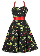 Rockabilly Vintage Style Pin-up Prom  Party Dress Black Cherry New Sizes 8 to 18