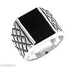 Genuine Jet Black Onyx Rhodium Plated Mens Ring New