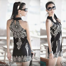 Exotic Totem Vintage Stand Collar Sleeveless Mini Dress