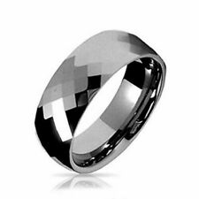 Multi faceted Men's Tungsten Wedding  Band 8MM