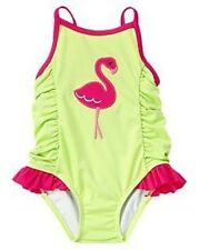 GYMBOREE FLAMINGO FLOWERS GREEN PINK FLAMINGO 1-PC SWIMSUIT 0 3 6 12 18 24 NWT