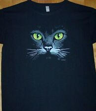 "New Black T Shirt "" GREEN CAT EYES ""  Sz Sm - 2XL"