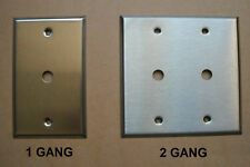 TV CABLE JACK STAINLESS STEEL WALL COVER PLATE 1 2 GANG