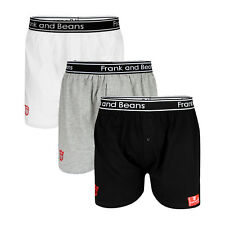 3 x FRANK AND BEANS BOXER SHORTS MENS UNDERWEAR SMALL BLACK WHITE GREY PACK