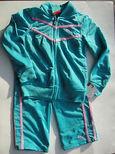 PUMA NWT GIRL 2PC  Track Suit Jacket Pant Top Teal Pink Warm Up Zip 12 12m 5