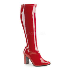 Sexy 70s Hippy Retro Mod Gogo Red Knee High Sexy Halloween Costume Boots