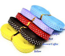 10 Yards Polka Dot Grosgrain Ribbon - 9mm wide  Choice of 10 Colours