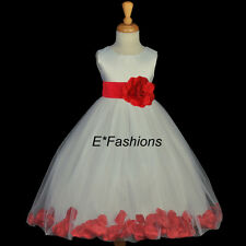 IVORY RED NEW FLOWER GIRL DRESS 12M 18M 2 4 6 6X 7 8 10 *Free shipping USA #302a