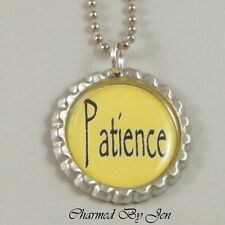 """PATIENCE Inspirational Word Saying Bottle Cap Charm Altered Art NECKLACE 24"""" NEW"""