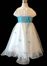 White Blue Pageant Wedding Flower Girls Dress Gown Size 3,4,6,8,10,12 Age 2-13