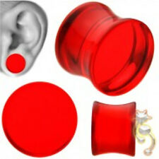 Red Double Flare Plugs Solid Ear Gauge Body Jewelry Tunnel Earlets Earrings
