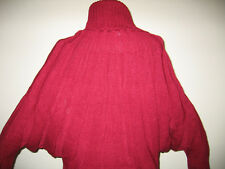 DARK RED DOLMAN SLEEVE SWEATER TURTLENECK THICK V WARM PULLOVER SIZES: S-M-L-XL