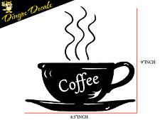 Coffee Cup vinyl wall art decal stickers Kitchen Decor Removable