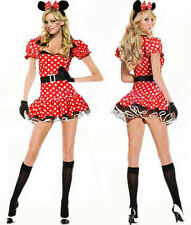 Sexy Halloween Womens Minnie Mouse Fancy Dress Costume outfit S M L